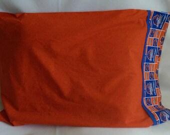 Standard Size Pillowcase - BSU - Boise State University - Blue and Orange - Bronco, Squares - Print