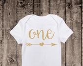 First Birthday Onesie, one,  personalized onesie, custom onesie, gold, glitter, second birthday, customized birthday bodysuit