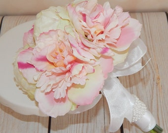Petite Blush Pink Peony Wedding Bouquet- Ivory Bud Peony Bridal Bouquet