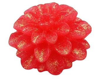 196-  Cabochon en résine scintillant, fleur rouge,  diametre 14mm x 8mm épaisseur