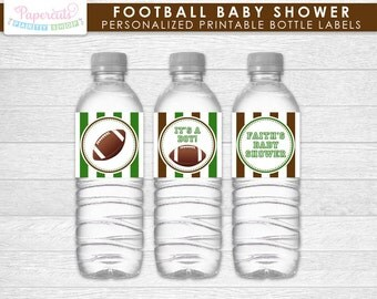 Football Theme Baby Shower Water Bottle Labels | Green & Brown | Personalized | Printable DIY Digital File