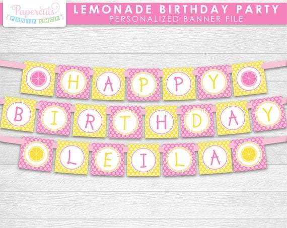lemonade theme happy birthday party banner yellow  u0026 pink