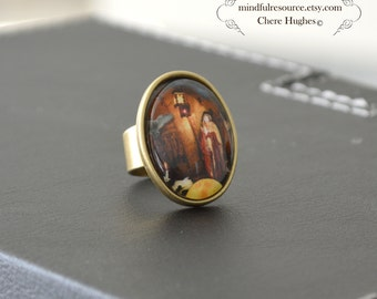 Goddess Red Gold Robes Statement Ring Owl Full Moon Dream Antique Brass Metal Red Gold Picture Jewelry