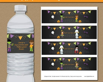 Halloween Water Bottle Labels - Kids Halloween Party Decorations - Costume Party Decor - Happy Halloween Birthday Party Favors HCBK