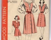 "1940's Hollywood One-Piece Dress, Blouse and Shorts Pattern - UC/FF - Bust 32"" - No. 1107"