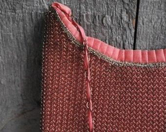 vintage evening bag - pink  - silk satin with metal mesh envelope