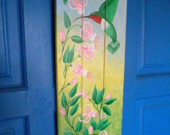 "Hand Painted Decor, Hummingbird Wall Decor, Door Hanger, Wood Wall Decor, Fuchsia Flowers, Plank Art, Decorative Plaque, 22 1/2 x 7 1/2"""