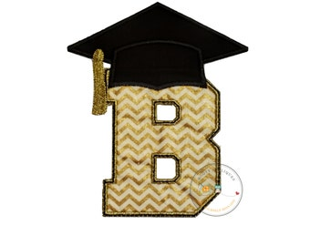 Gold chevron graduation inital letter B iron on applique, embroidered graduation letter B in gold and cream fabric, graduation iron on patch
