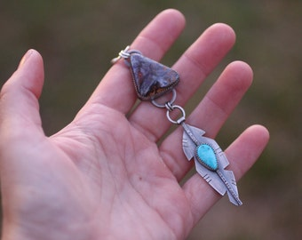 Boho Feather Necklace, Australian Boulder Opal, Turquoise Feather Pendant