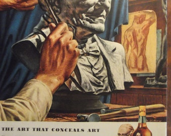 OLD GRAND-DAD Original Vintage 1940s Magazine Advertisment Bar Decor Man Cave Additional Ads Ship FrEE