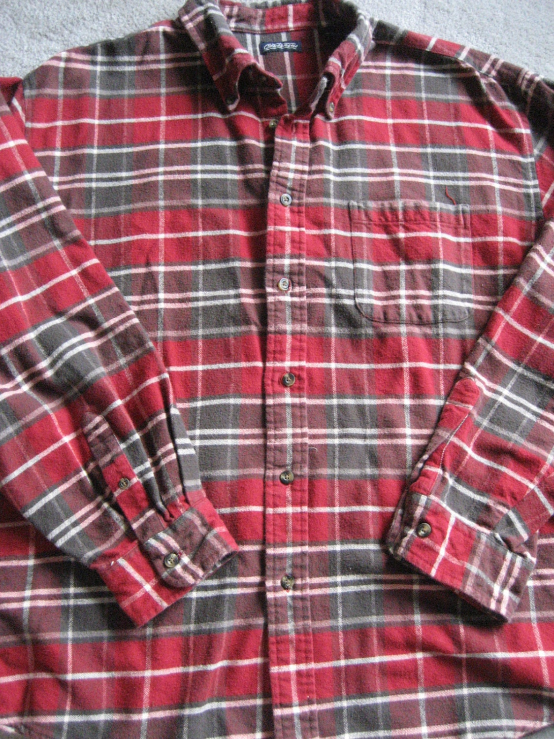 Red plaid flannel shirt heavyweight 100 cotton by mercymaud for Heavy plaid flannel shirt