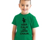 youth Keep Calm And Lepre chaun T-Shirt st patricks day shirt, green shirt, leprechaun, lucky charms, irish pride, kids, girls, boys S-XL