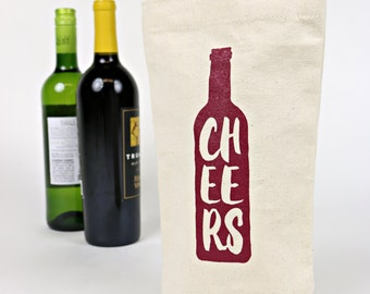 Wine Tote - Recycled Cotton Canvas - Red Cheers
