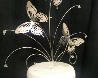 Butterfly and crystal arrangement cake topper