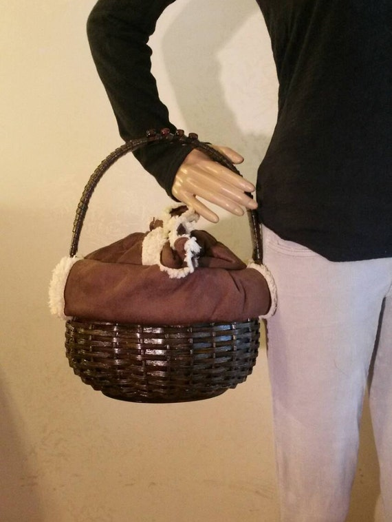 READY TO SHIP-Faux Shearling Hand Woven Basket Purse With 8 Inch Handle