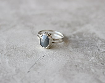 Blue Sapphire Ring, Gemstone Ring, Sterling Silver Ring Size 6