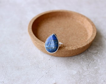 SALE 20% OFF - Blue Lapis Ring, Ring Size 8.75 US, Sterling Silver Ring