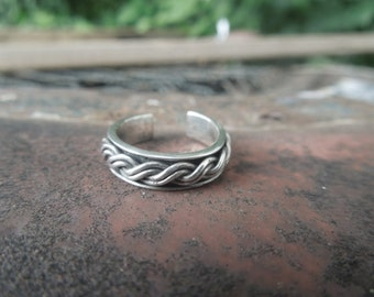 Sterling Silver Toe Ring Band Rope Twist Braided Ring Size 3.5 or 3 1/2