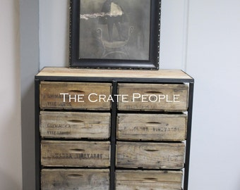 10 Crate Drawer Tallboy Dresser - Custom Made Crate Furniture - Vintage Wood Crates and 100+ yr old Barn Wood