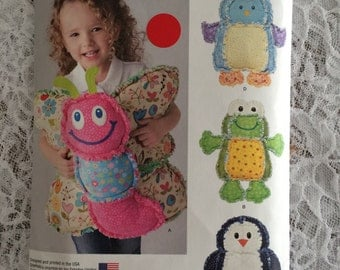 Rag Quilted Animal Pillows Pattern - Simplicity 1441