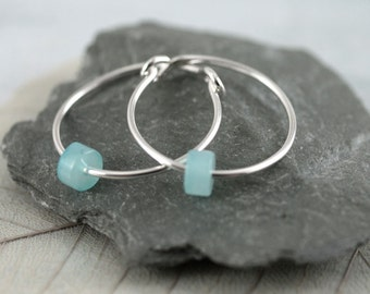 Silver Sleeper Hoops - Sterling Earrings Adorned with Cute Cylinder Amazonite Beads