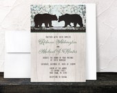 Rustic Bear Wedding Invitations and RSVP reply cards - Spring Country Outdoorsy Woods - Printed Invitations