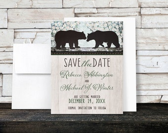 Bear Save the Date Cards - Rustic Spring or Summer Bear Floral Wood - Printed Cards