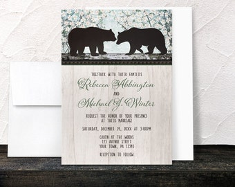 Rustic Bear Wedding Invitations - Spring Country Outdoorsy Woods - Printed Invitations