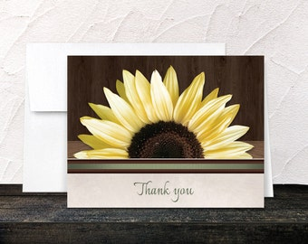 Sunflower Thank You Cards - Country Sunflower Over Wood Rustic - Printed Cards