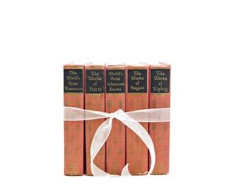 Antique Book Bundle, Coral Pink Decorative Books, Old Book Bundle Set, Wedding Centerpiece Decoration, Book Collection, Home Interior Design