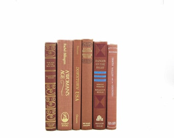 Copper Brown BOoks, Book Collection, Decorative Books, old books by color, Antique book gift, Book Decor, Home Decor, Instant Library