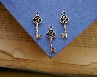 8 pcs Antique Silver Key Charms (SC682)