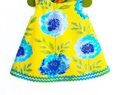 Blooming Floral - Yellow Spring -  Baby Toddler Girls Dress - Handmade Childrens Clothing - Girls Peasant Dress - 3M to 4T