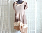 Upcycled Top Bohemian Tunic Lagenlook Romantic Ruffles Beige Silk Taupe Neutrals Recycled Clothing Size Medium Large