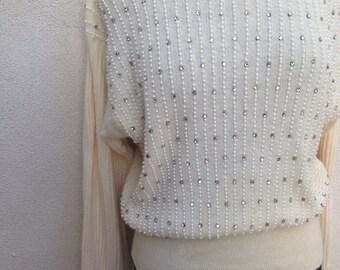 Vintage wool angora sweater off white pearls rhinestones blousy fit sz M