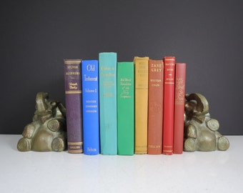 Vintage Rainbow Book Set // Instant Collection of Eight Colorful Hardcover Books with Gold Text Spines Bookshelf Fillers Mid Century Decor