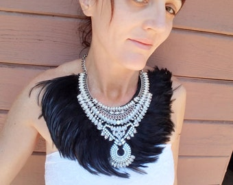Jeweled Feather Necklace in Black - Costume, Tribal, Renaissance Fair, Mad Max, Warrior, Priest, Priestess, Cosplay, Burning Man