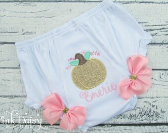 Pink Gold Pumpkin Birthday Bloomers - Our Little Pumpkin - Lil Punkin - Pumpkin Patch Birthday - Pumpkin Theme Birthday Diaper Cover