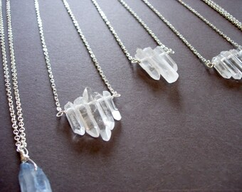 Layering Necklace Clear Quartz Crystal Natural Points set of 3 or 5 on a Silver Plated Chain, 24 inches, Crystal Points