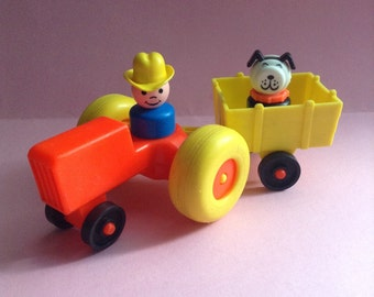 Fisher Price vintage toy set, vehicle and figures, farmer / cowboy / tractor, father & son, Little People, original 70s, educational toys