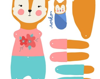 DIY fox paper doll, articulated, Rosey Rag Doll