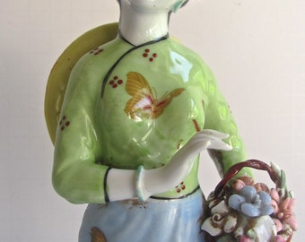 Antique Chinese Spring Maiden, Porcelain Figurine, Butterfly Robe, Flowers in Hair, Flower Basket, Handpainted Porcelain, Good Condition