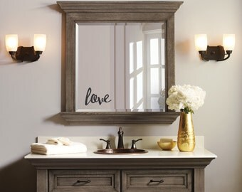 Love Mirror Decal Bathroom Mirror Decal Bedroom Mirror Decal Gold Bathroom Decor