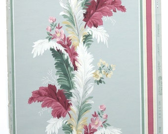 REMNANT of Vintage Wallpaper, Single 32 Inch Piece - Segmant of Botanical Wallpaper with Burgundy Green and White Leaf Stripe on Blue