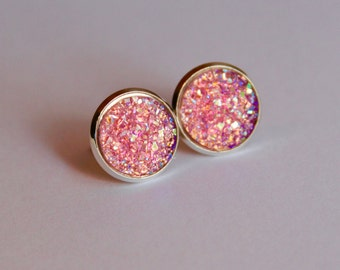 Pink Faux Druzy Glitter Earrings - Posts/Studs 12mm LARGE (D34)