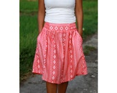 Salmon Coral Chevron Skirt / Coral and White Chevron Midi Skirt with Pockets / Ready to Ship