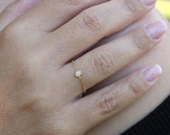 Diamond chain ring, Solitaire diamond chain ring, Bezel diamond ring, Engagement diamond ring