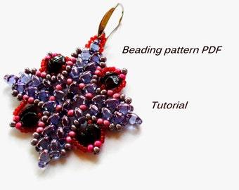 Beaded earrings Christina. Superduo Earrings Pattern. Beading Tutorial. Beading pattern PDF. Instant download.