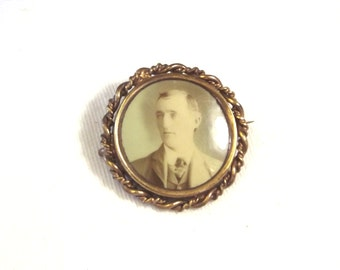 ON Sale, Victorian Tintype Brooch – Antique Mourning Jewelry – Mourning Portrait  Brooch – Picture Pin