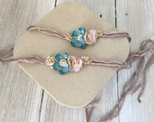 Turquoise and Tan Yarn Tieback Halo Headband - Newborn, Baby, Toddler, Child - Ready to Ship
